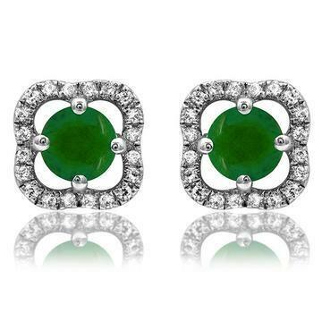 Clover Emerald Stud Earrings with Diamond Frame White Gold