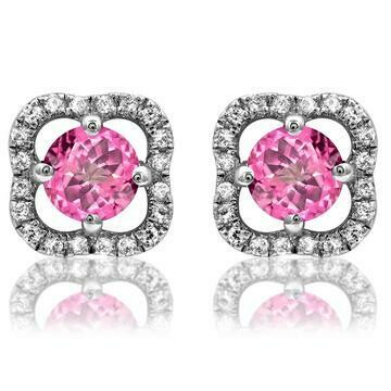 Clover Pink Topaz Stud Earrings with Diamond Frame 14KT Gold