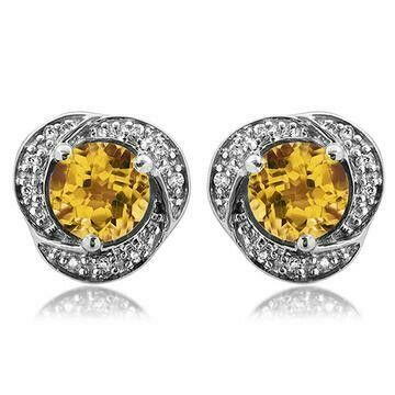 Citrine Whirl Stud Earrings with Diamond Frame White Gold