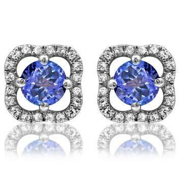 Clover Tanzanite Stud Earrings with Diamond Frame Rose Gold