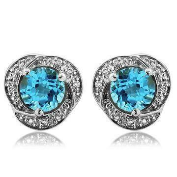 Blue Topaz Whirl Stud Earrings with Diamond Frame 14KT Gold