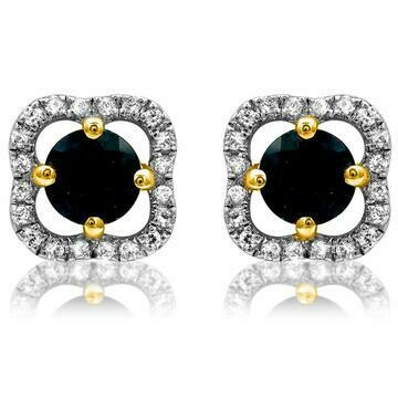 Clover Blue Sapphire Stud Earrings with Diamond Frame Yellow Gold