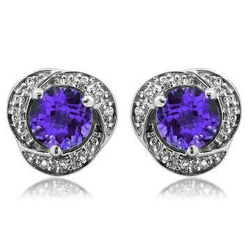 Amethyst Whirl Stud Earrings with Diamond Frame White Gold