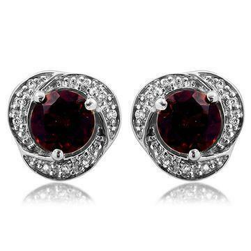 Garnet Whirl Stud Earrings with Diamond Frame 14KT Gold