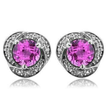 Pink Topaz Whirl Stud Earrings with Diamond Frame 14KT Gold