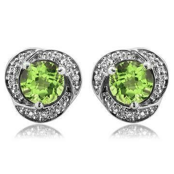 Peridot Whirl Stud Earrings with Diamond Frame 14KT Gold