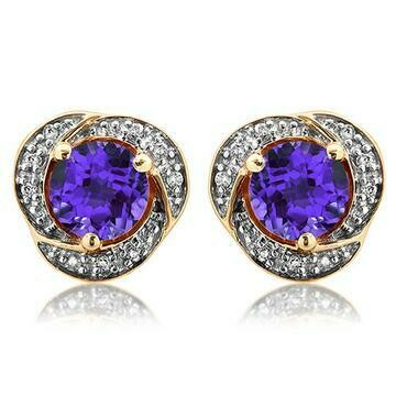 Amethyst Whirl Stud Earrings with Diamond Frame Yellow Gold
