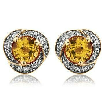 Citrine Whirl Stud Earrings with Diamond Frame Yellow Gold
