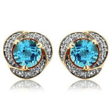 Blue Topaz Whirl Stud Earrings with Diamond Frame Yellow Gold