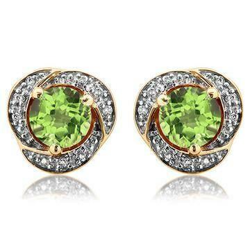 Peridot Whirl Stud Earrings with Diamond Frame Yellow Gold