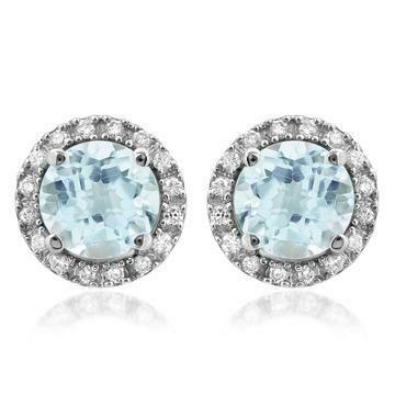 Aquamarine Stud Earrings with Diamond Frame White Gold