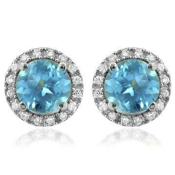 Blue Topaz Stud Earrings with Diamond Halo 14KT Gold