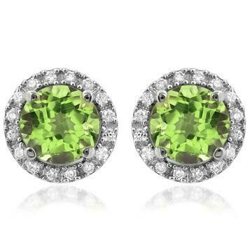 Peridot Stud Earrings with Diamond Halo 14KT Gold