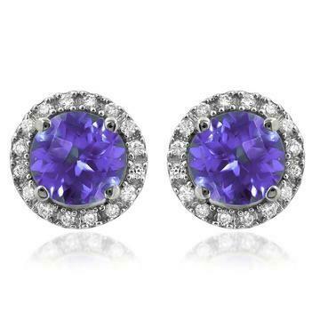 Amethyst Stud Earrings with Diamond Frame White Gold
