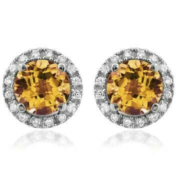 Citrine Stud Earrings with Diamond Halo 14KT Gold