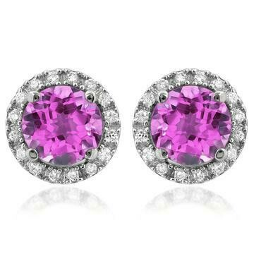 Pink Topaz Stud Earrings with Diamond Halo 14KT Gold