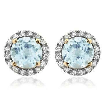 Aquamarine Stud Earrings with Diamond Frame Yellow Gold