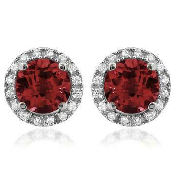 Garnet Stud Earrings with Diamond Halo 14KT Gold