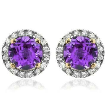 Amethyst Stud Earrings with Diamond Frame Yellow Gold