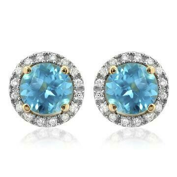 Blue Topaz Stud Earrings with Diamond Frame Yellow Gold