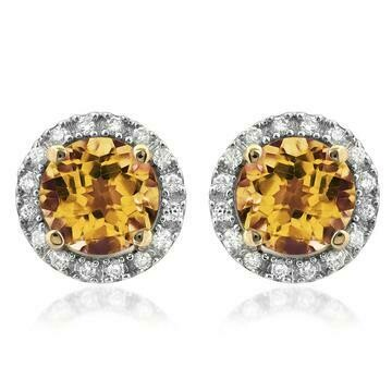 Citrine Stud Earrings with Diamond Frame Yellow Gold