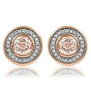 Morganite Stud Earrings with Diamond Frame Rose Gold