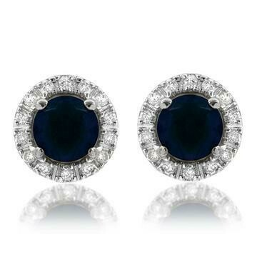 Blue Sapphire Stud Earrings with Diamond Halo 14KT Gold