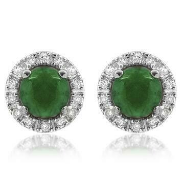 Emerald Stud Earrings with Diamond Frame White Gold
