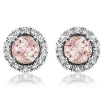 Morganite Stud Earrings with Diamond Halo 14KT Gold