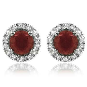 Ruby Stud Earrings with Diamond Halo 14KT Gold