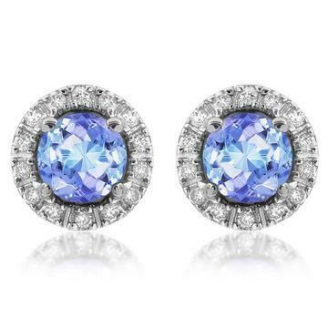 Tanzanite Stud Earrings with Diamond Frame White Gold