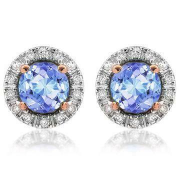 Tanzanite Stud Earrings with Diamond Frame Rose Gold
