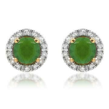 Emerald Stud Earrings with Diamond Frame Yellow Gold