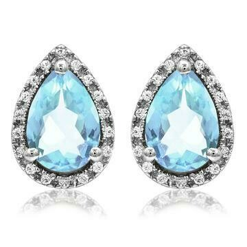 Pear Aquamarine Stud Earrings with Diamond Frame White Gold
