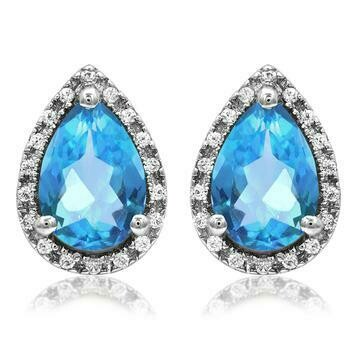 Pear Blue Topaz Stud Earrings with Diamond Halo 14KT Gold