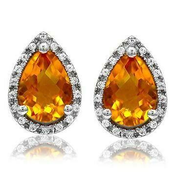 Pear Citrine Stud Earrings with Diamond Frame White Gold
