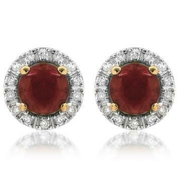 Ruby Stud Earrings with Diamond Frame Yellow Gold