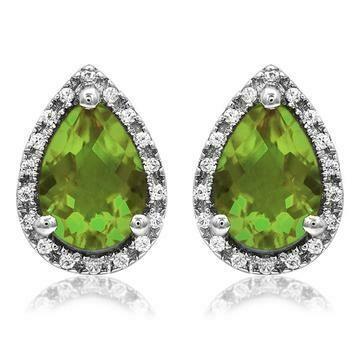 Pear Peridot Stud Earrings with Diamond Halo 14KT Gold