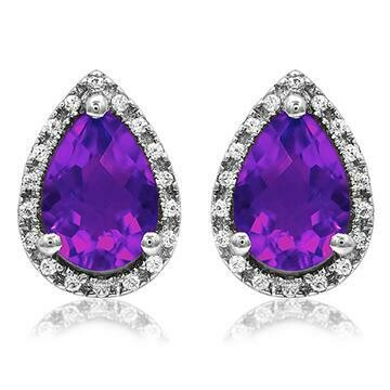 Pear Amethyst Stud Earrings with Diamond Frame White Gold