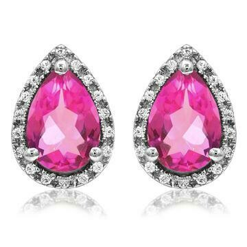 Pear Pink Topaz Stud Earrings with Diamond Halo 14KT Gold