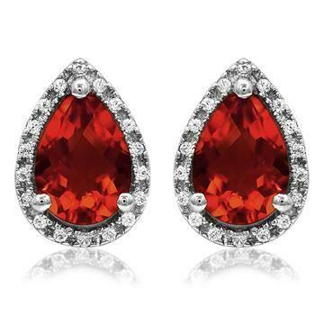 Pear Garnet Stud Earrings with Diamond Halo 14KT Gold