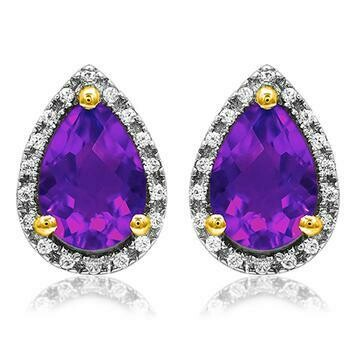 Pear Amethyst Stud Earrings with Diamond Frame Yellow Gold