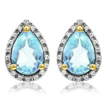 Pear Blue Topaz Stud Earrings with Diamond Frame Yellow Gold
