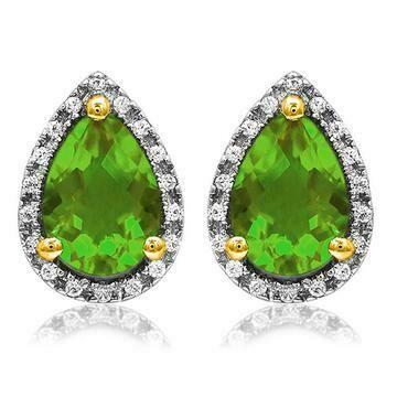 Pear Peridot Stud Earrings with Diamond Frame Yellow Gold