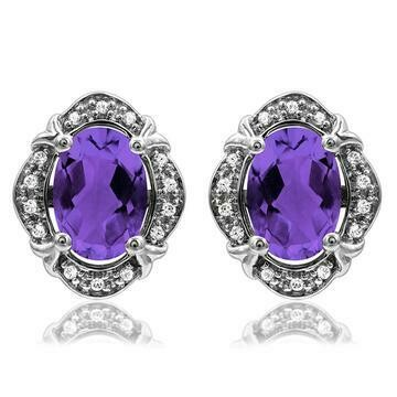 Vintage Inspired Oval Amethyst Earrings with Diamond Frame 14KT Gold