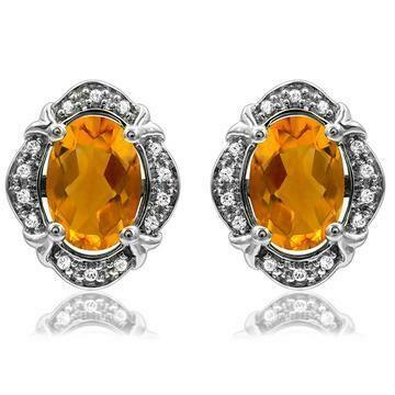 Vintage Inspired Oval Citrine Earrings with Diamond Frame 14KT Gold