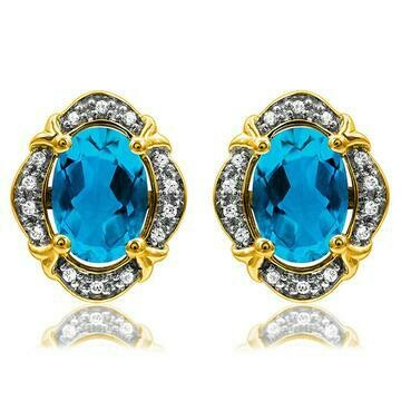 Vintage Inspired Oval Blue Topaz Earrings with Diamond Frame Yellow Gold
