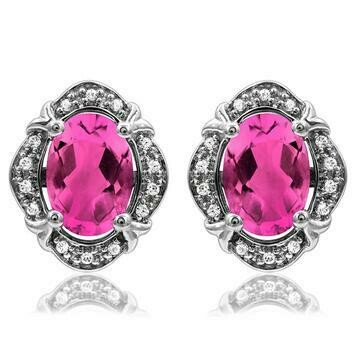 Vintage Inspired Oval Pink Topaz Earrings with Diamond Frame 14KT Gold