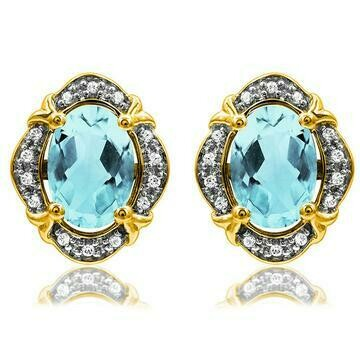 Vintage Inspired Oval Aquamarine Earrings with Diamond Frame Yellow Gold