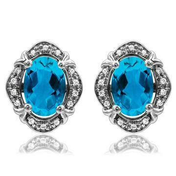 Vintage Inspired Oval Blue Topaz Earrings with Diamond Frame 14KT Gold